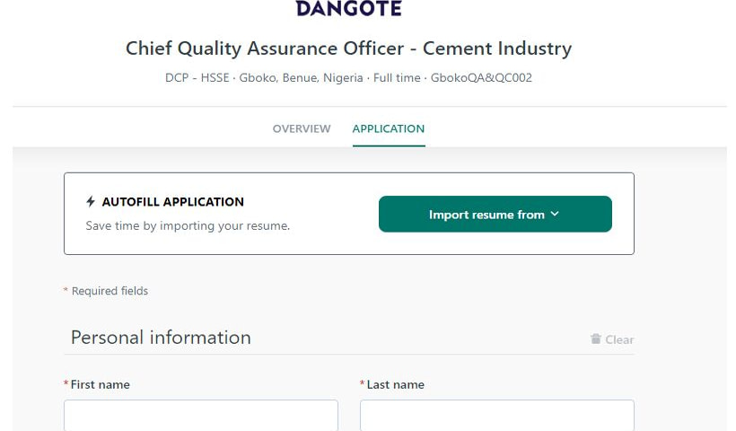 Dangote 2020 recruitment