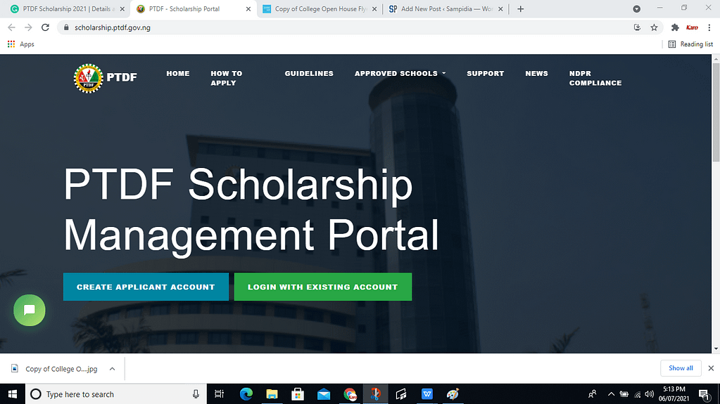 PTDF Scholarship 2021 Sceenshot of  registration page