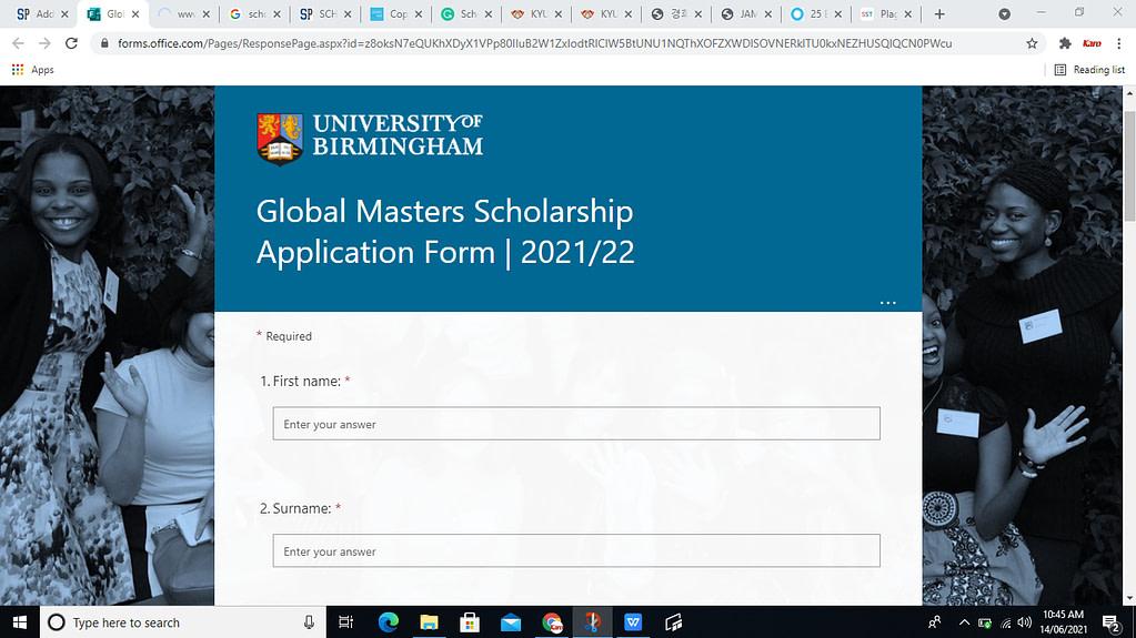 Global Scholarship June 2021 at University of Birmingham (UK)